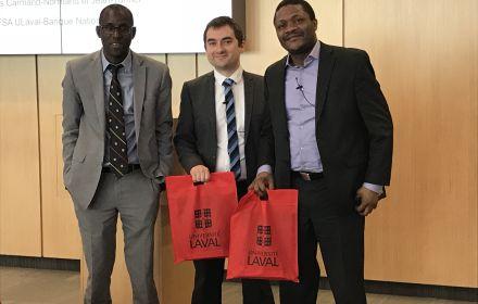 De g. à d: Issouf Soumaré (FSA ULaval), Quentin Rajon (Caisse de dépôt et placement du Québec) et Emmanuel Penka Fowe (Banque Nationale du Canada).
